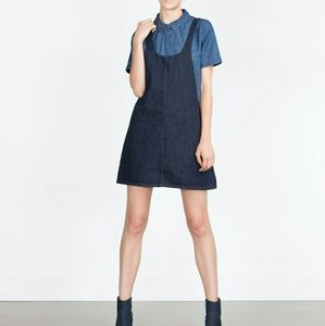 Zara Trafaluc Pinafore Denim Dress